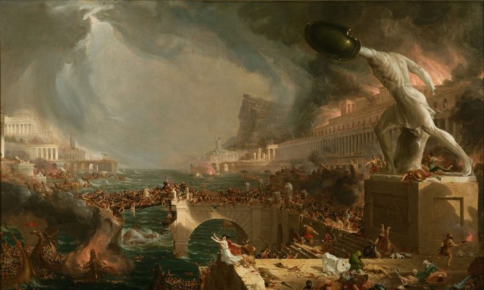 """""""Destruction,"""" by Thomas Cole in his Course of Empires paintings, 1836. (Public Domain)"""