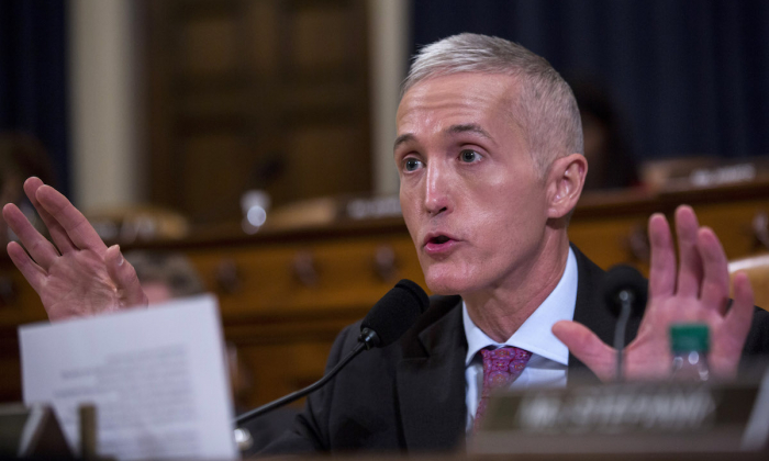 Rep. Trey Gowdy (R-SC) speaks a House Permanent Select Committee on Intelligence hearing concerning Russian meddling in the 2016 United States election, on Capitol Hill in Washington on March 20, 2017. (Photo by Zach Gibson/Getty Images)