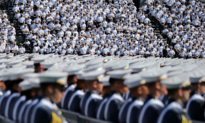 Cadets wait the start of the U.S. Military Academy Class of 2017 graduation ceremony at Michie Stadium on May 27, 2017 in West Point, New York. U.S.  (Eduardo Munoz Alvarez/Getty Images)