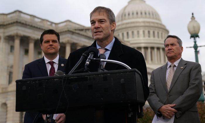 Rep. Jim Jordan speaks as  (L-R) Reps. Matt Gaetz and Jody Hice listen during a news conference in front of the Capitol in Washington on Dec. 6, 2017. (Alex Wong/Getty Images)
