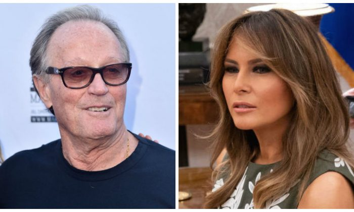 A composite image of actor Peter Fonda and Melania Trump. (Alberto E. Rodriguez/Getty Images; Chris Kleponis - Pool/Getty Images)