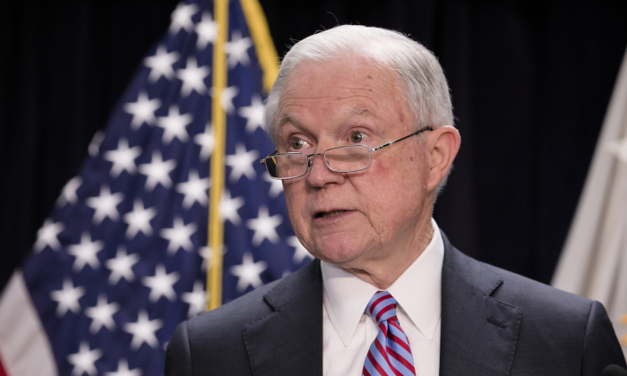 Attorney General Jeff Sessions at a press conference in Baltimore, Md., on Dec. 12, 2017, on the administration's efforts to combat MS-13 and carry out its immigration priorities. (Samira Bouaou/The Epoch Times)