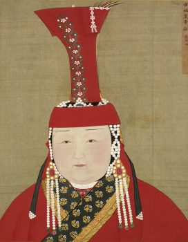 "In the ""Portrait of Khublai Khan's Consort,"" Chabi is shown in a boghta crown. (Public Domain)"