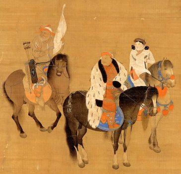 "Detail of ""Kublai Khan Hunting"" by Liu Kuan-tao showing Kublai Khan and Chabi, wearing robes made of wool. (Public Domain)"