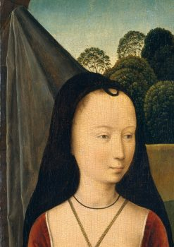 "Detail of ""Diptych With the Allegory of True Love"" by Hans Memling, shows the hennin worn by Medieval ladies. (Public Domain)"