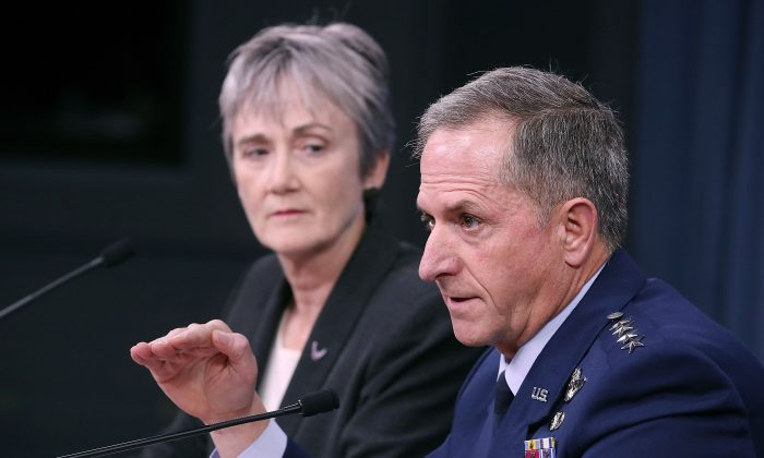 Air Force Secretary Heather Wilson and Air Force Chief of Staff Gen. David Goldfein brief the media at the Pentagon on Nov. 9, 2017 in Arlington, Virginia. (Mark Wilson/Getty Images)