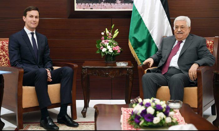 In this handout image provided by the Palestinian Press Office (PPO), Palestinian President Mahmoud Abbas (R) meets with Jared Kushner, Senior Advisor to U.S. President Donald Trump, on June 21, 2017 in Ramallah, West Bank. (Thaer Ghanaim/PPO via Getty Images)