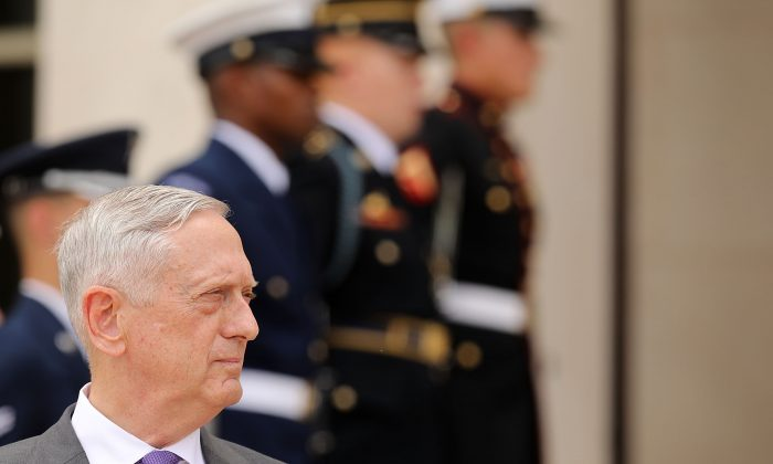 Defense Secretary James Mattis outside the Pentagon on June 20, 2018 in Arlington, Va. (Chip Somodevilla/Getty Images)