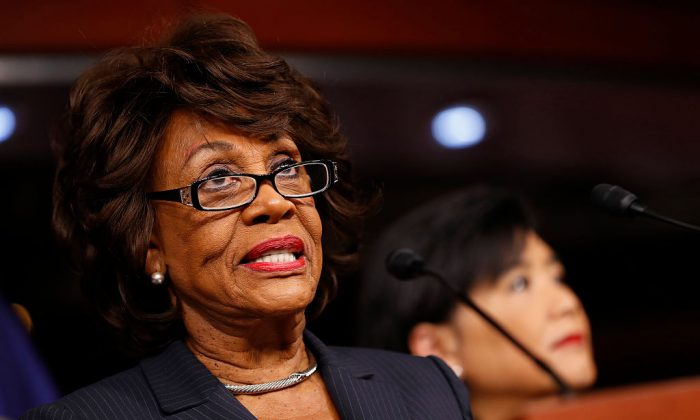 Rep. Maxine Waters (D-CA) speaks at a press conference on Capitol Hill in Washington on Jan. 31, 2017. (Aaron P. Bernstein/Getty Images)