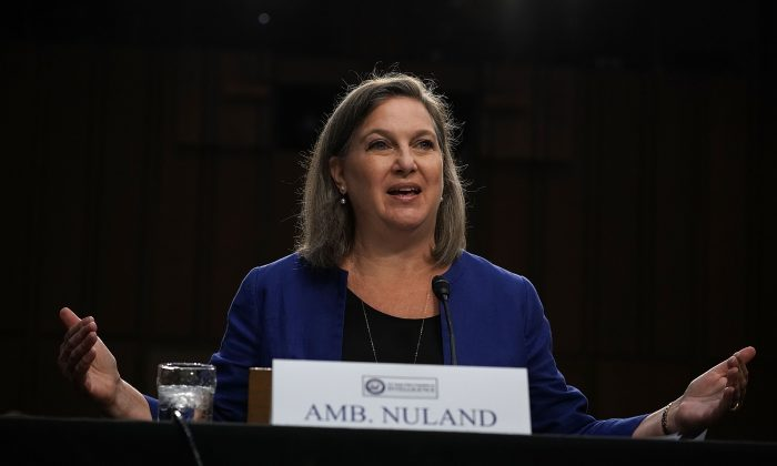 Former Assistant Secretary of State for European and Eurasian Affairs Victoria Nuland testifies during a hearing before the Senate Intelligence Committee on June 20, 2018. (Alex Wong/Getty Images)