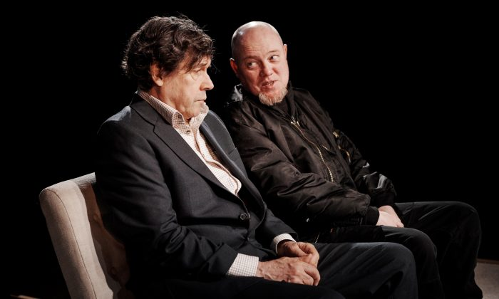 "Eric (Stephen Rea, L) finds a sympathetic ear for his hatred in Slim (Chris Corrigan), in the production of ""Cyprus Avenue,"" written by David Ireland and directed by Vicky Featherstone, running at The Public Theater.  (Ros Kavanagh)"