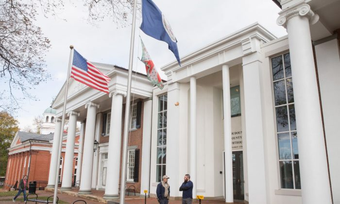 The Loudoun County Courthouse on Nov. 16, 2017 in Leesburg, Virginia. A new bill in Virginia would deny bail for human traffickers. (Tasos Katopodis/Getty Images)