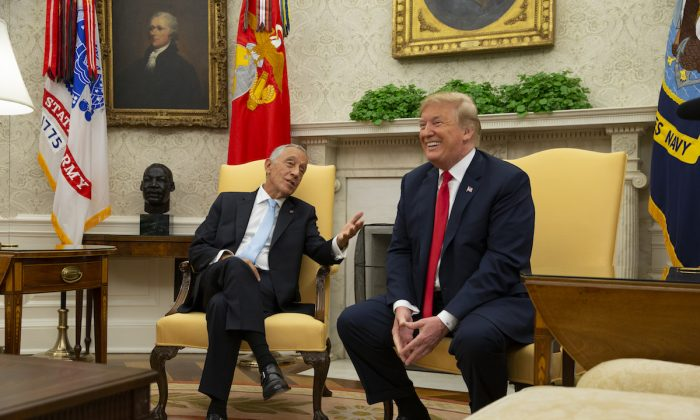 President Donald Trump meets with The President of Portugal Marcelo Rebelo de Sousa in the Oval Office at the White House on June 27, 2018 in Washington, DC. (Alex Edelman/Pool/Getty Images)