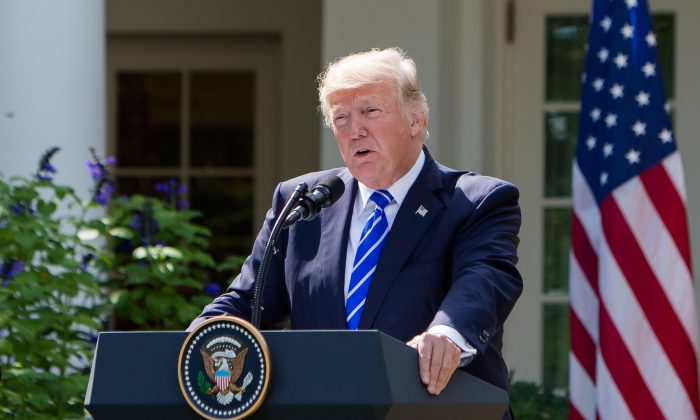 U.S. President Donald Trump speaks in the Rose Garden at the White House, Washington, in this file photo. (Samira Bouaou/The Epoch Times)