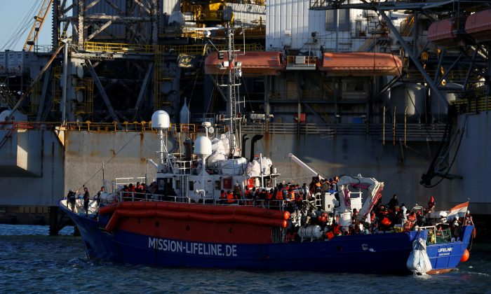 The charity ship Lifeline is seen at Boiler Wharf in Senglea, in Valletta's Marsamxett Harbour, Malta, on June 27, 2018. (Reuters/Darrin Zammit Lupi)