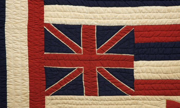 Close-up of Hawaiian Flag detail on the quilt. (American Museum in Britain)