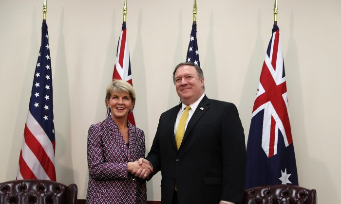 U.S. Secretary of State Mike Pompeo (R) shakes hands with Australian Minister for Foreign Affairs Julie Bishop (L) before the start of a meeting during the Australia-U.S. Ministerial  Consultations (AUSMIN) at the Hoover Institution on the campus of Stanford University July 23, 2018 in Stanford, California. U.S. (Justin Sullivan/Getty Images)