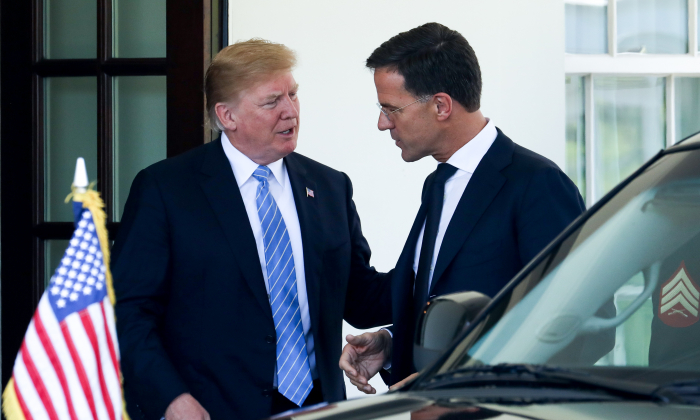 President Donald Trump welcomes the Prime Minister of the Netherlands, Mark Rutte, at the White House in Washington on July 2, 2018. (Samira Bouaou/The Epoch Times)