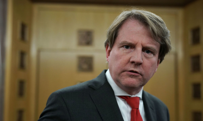 White House Counsel Don McGahn after the investiture ceremony for U.S. District Judge Trevor N. McFadden at the U.S. District Court in Washington on April 13, 2018.  (Alex Wong/Getty Images)