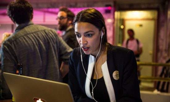 Leftist Alexandria Ocasio-Cortez celebrates at a victory party in the Bronx after upsetting incumbent Democratic Representative Joseph Crowly on June 26, 2018 in New York City.  (Scott Heins/Getty Images)