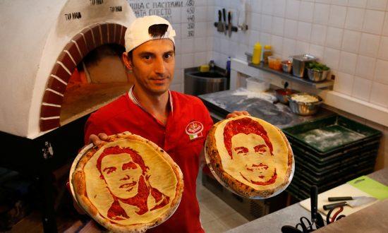 Soccer Fans Savor Pizza Art