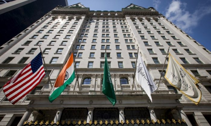 Flags fly over the entrance of The Plaza Hotel in midtown Manhattan, New York, on August 19, 2015.  (Reuters/Brendan McDermid)