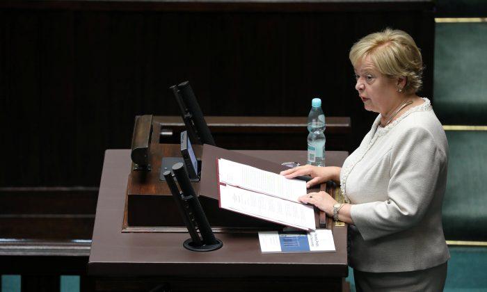 Polish Supreme Court Chief Malgorzata Gersdorf speaks at the Polish Parliament in Warsaw, July 3, 2018. (Agencja Gazeta/Slawomir Kaminski via Reuters)