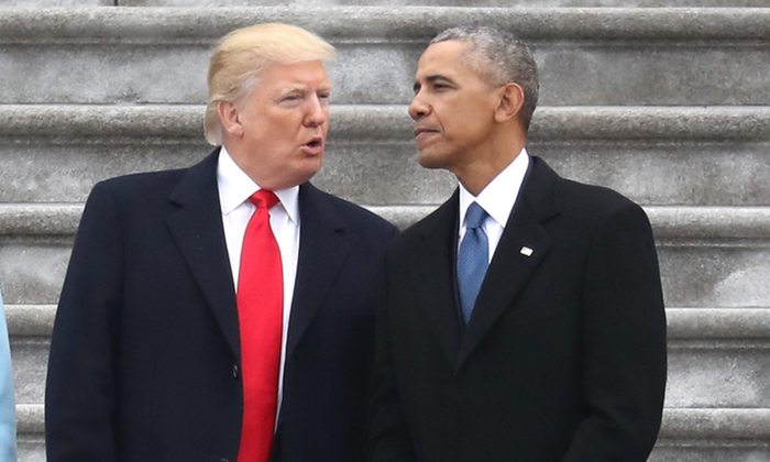 President Donald Trump and former president Barack Obama exchange words at the Capitol in Washington, DC on Jan. 20, 2017.(Rob Carr/Getty Images)