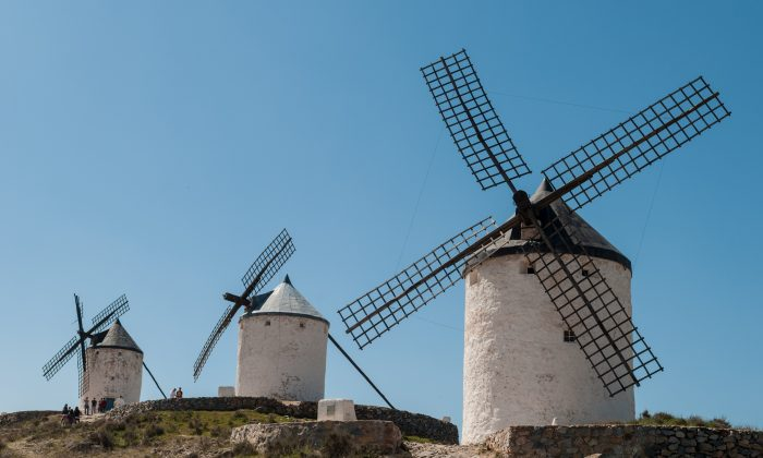 "The windmills of Consuegra, Spain, made famous by Miguel de Cervantes in his ""The Ingenious Nobleman Don Quixote of La Mancha."" (Michal Osmenda/ CC 2.0)"
