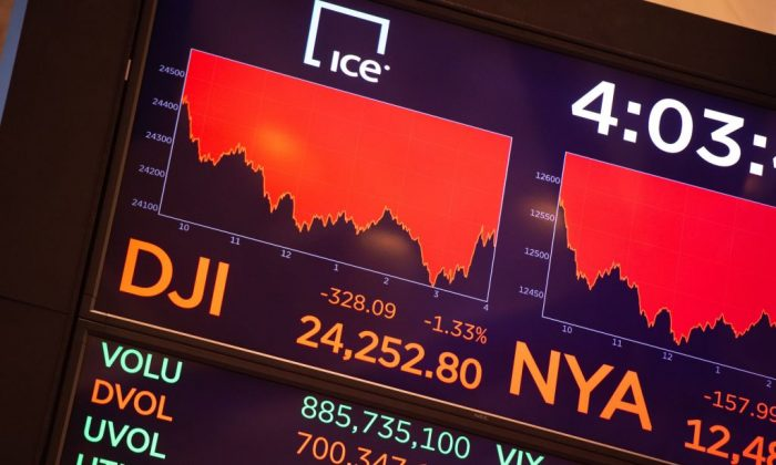 Stock market quotes after the closing bell of the Dow Industrial Average at the New York Stock Exchange on June 25, 2018 in New York. (BRYAN R. SMITH/AFP/Getty Images)