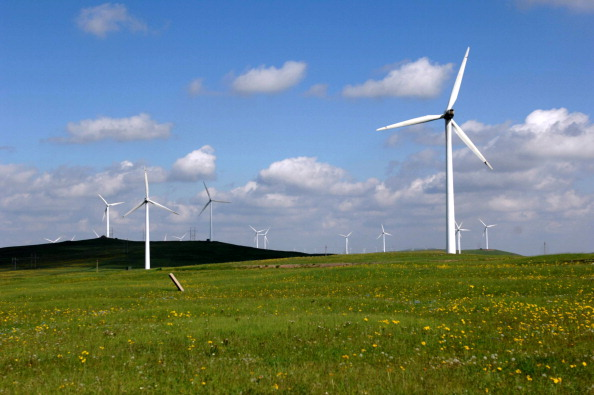 Windmills on Huitengxile grassland in Ulanqab, northern China's Inner Mongolia Autonomous Region, on June 22, 2013. (STR/AFP/Getty Images)