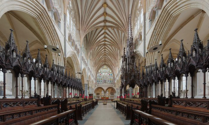 Within Exeter Cathedral looking east toward the Lady Chapel. (DAVID ILIFF. /CC-BY-SA 3.0)