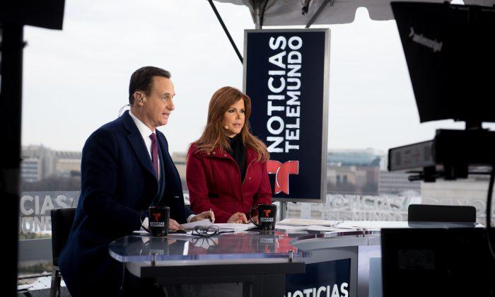 Jose Diaz-Balart and Maria Celeste Arraras participate in the Telemundo 2017 Presidential Inauguration broadcast at The Newseum in Washington, D.C., on Jan. 20, 2017. (Noam Galai/Getty Images)