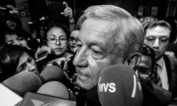 Andres Manuel Lopez Obrador, presidential candidate for National Regeneration Movement Party (MORENA)/Juntos Haremos Historia' coalition, speaks to the press during a conference as part of the 'Dialogues: Mexico Manifesto' event at Hilton Hotel on May 17, 2018 in Mexico City, Mexico. (Hector Vivas/Getty Images)