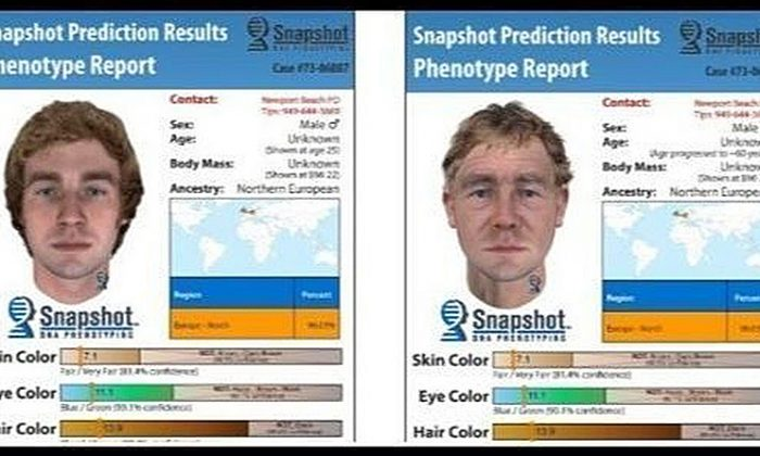 DNA collected at a 1973 murder yielded these computer-generated images of what the suspect might have looked like in 1973 on the left and now. (Newport Police Department)
