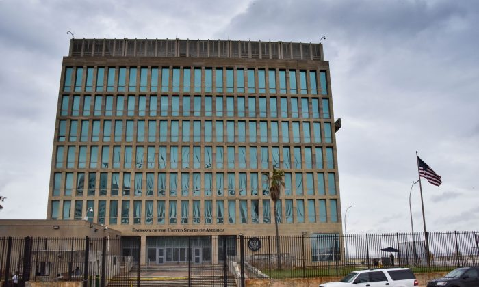 The U.S. Embassy in Havana, Cuba, on Sept. 29, 2017, shortly after half its personnel suffered an alleged sonic weapon attack. (Adalberto Roque/AFP/Getty Images)