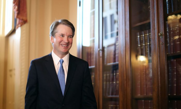 Judge Brett Kavanaugh leaves the room following a meeting and press availability with Senate Judiciary Committee Chairman Charles Grassley (R-IA) at the U.S. Capitol July 10, 2018 in Washington. (Chip Somodevilla/Getty Images)