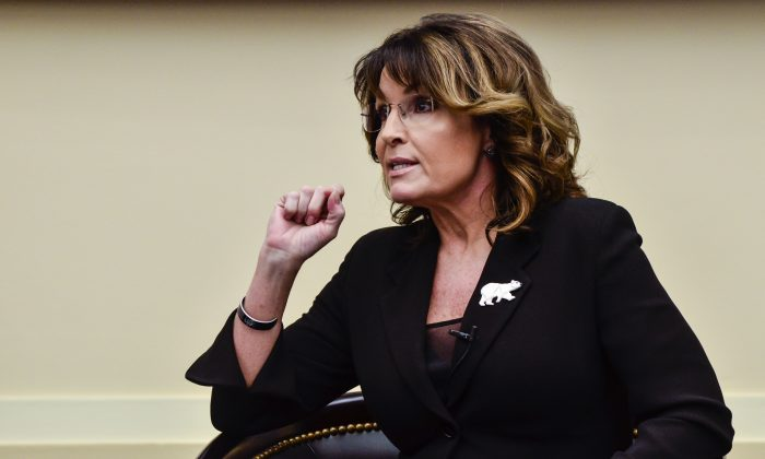 """Former Governor Sarah Palin speaks during the """"Climate Hustle"""" panel discussion at the Rayburn House Office Building in Washington on April 14, 2016. (Kris Connor/Getty Images)"""
