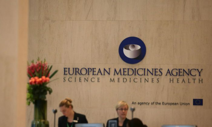 The logo of the European Medicines Agency is pictured in the reception area of their offices on May 2, 2017.(Daniel Leal-Olivas/AFP/Getty Images)
