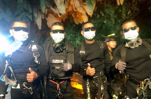 Four Thai Navy Seals are seen after leaving the cave safe during the rescue mission, Chiang Rai Province, Thailand July 10, 2018 in this photo obtained from social media. (Thai Navy Seal/via Reuters)