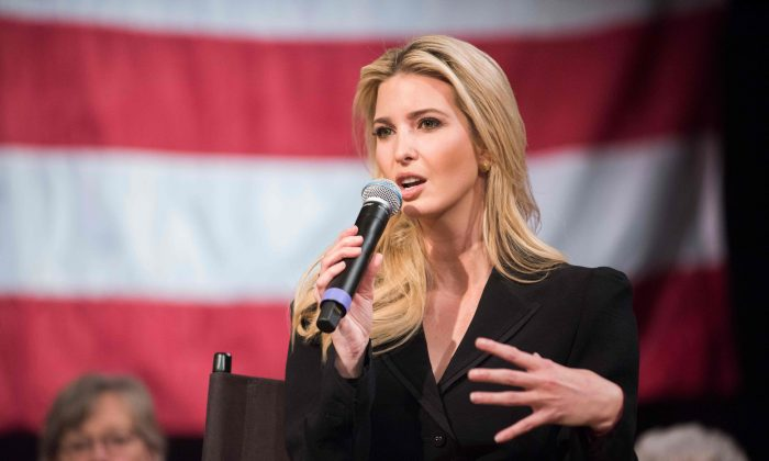 Advisor to the President Ivanka Trump speaks at the Derry Opera House during a town hall with residents of Derry, New Hampshire on April 17, 2018. (RYAN MCBRIDE/AFP/Getty Images)