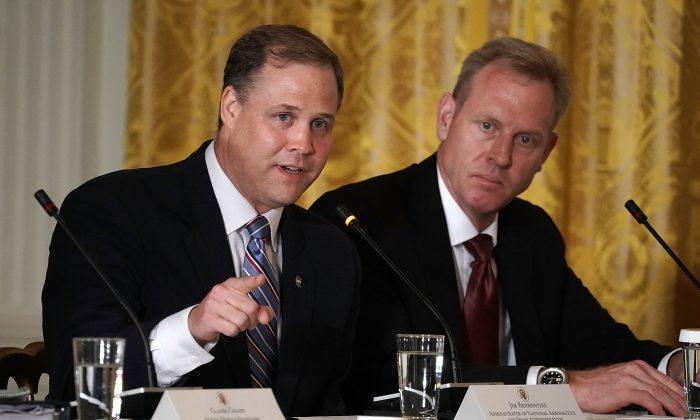 NASA Administrator Jim Bridenstine (L) speaks during a meeting of the National Space Council at the East Room of the White House June 18, 2018 in Washington. (Alex Wong/Getty Images)