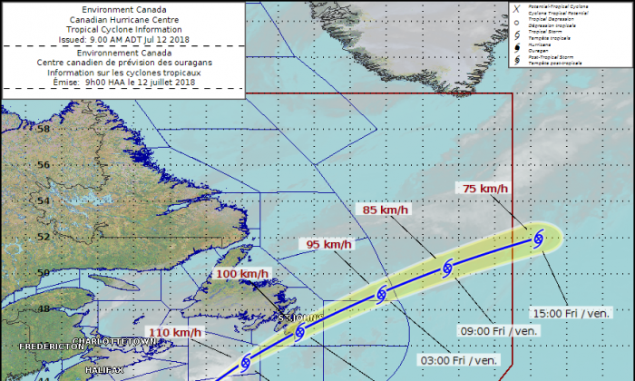 The projected path of tropical storm Chris. (Environment Canada)