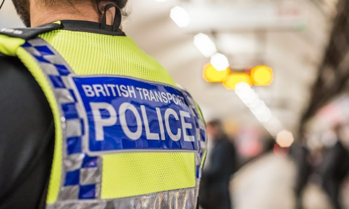 Stock photo of an officer of the British Transport Police. (BTP)