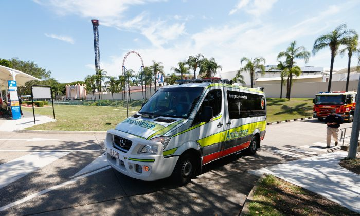 An ambulance leaves Movieworld on Jan. 11, 2017, in Gold Coast, Australia. (Jason O'Brien/Getty Images)