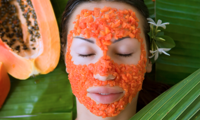If you have dry or blemished skin, you can use all of the insides of a papaya to help exfoliate, cleanse, and moisturizer your skin.