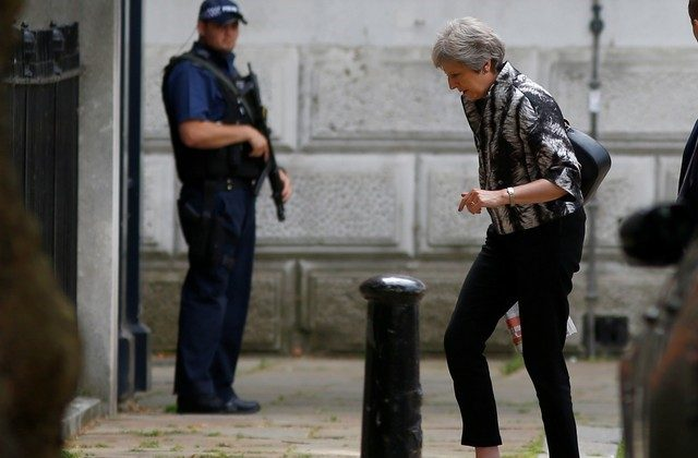 Britain's Prime Minister, Theresa May, arrives at Downing Street, in central London, Britain July 16, 2018. (Reuters/Henry Nicholls)