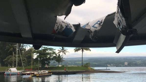 A hole, punched through the roof of a tourist boat, is seen after lava from the Mount Kilauea volcano exploded in the sea off Kapoho, Hawaii, U.S. July 16, 2018. (Hawaii Department of Land and Natural Resources/Handout via Reuters)