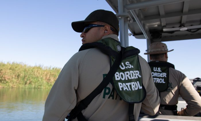 Customs and Border Protection agents patrol the Colorado River at the intersection of California, Arizona, and Mexico, on May 25, 2018. (Samira Bouaou/The Epoch Times)