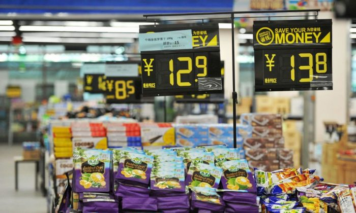 The picture shows imported items displayed at a store in Qingdao in China's eastern Shandong Province on July 15, 2018. (STR/AFP/Getty Images)